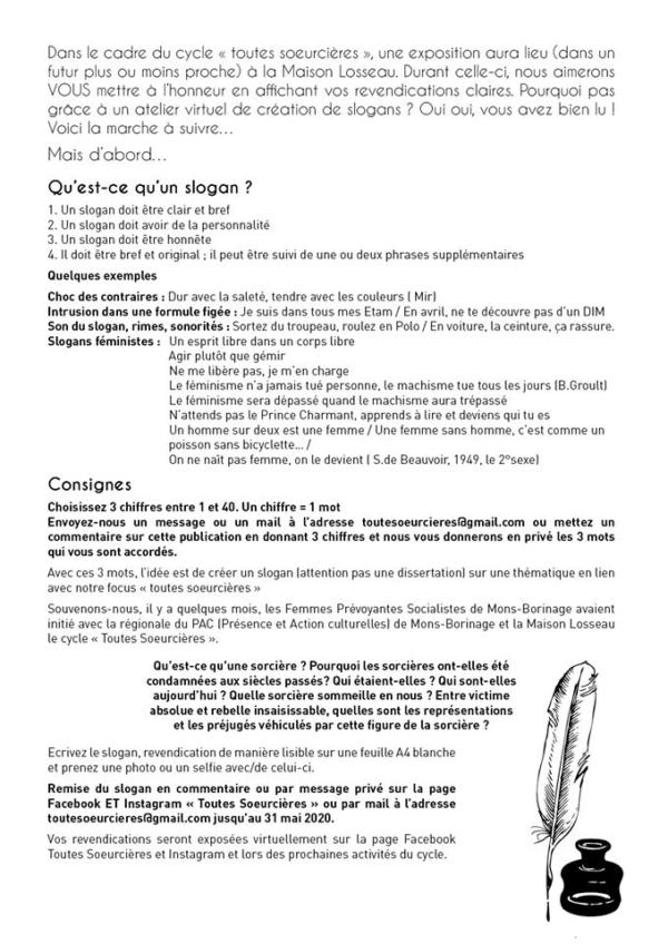 texte et affiche Atelier Slogan Toutes Soeurcières