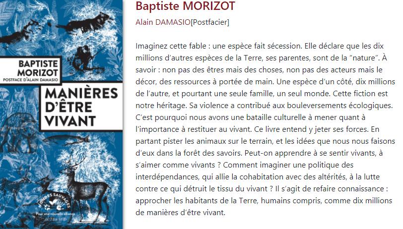 Conseil lecture Guinguette Littéraire sur le thème de la nature de Jean Baptiste Morizot